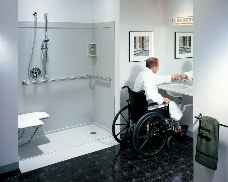 Handicap bathrooms on pinterest handicap bathroom roll for Wheelchair accessible bathroom designs