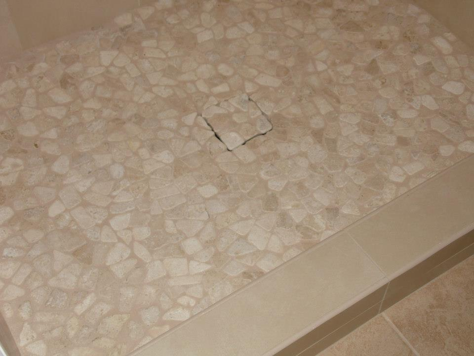 pebble shower floor installation in york, pa
