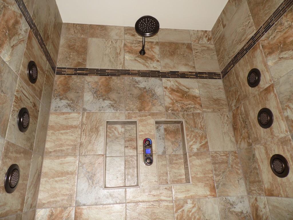 Tile Shower with Custom Moen Faucets - Digital Showering