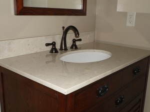 Bathroom Vanity with Quartz counter top and Oil Rubbed Bronze faucet