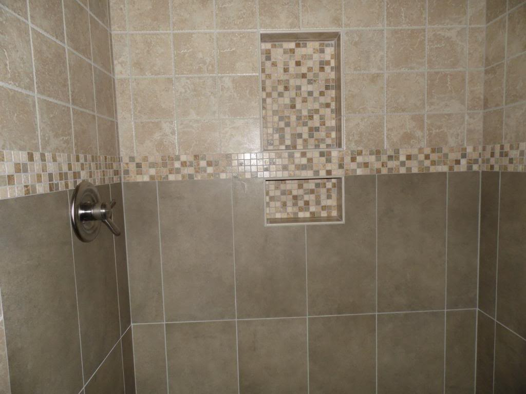 Superbe Two Shelf Shower Niche With Tumbled Mosaic Banner Running Through It