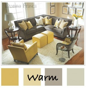 Warm color pallets with gold brings a new feel to your living room.