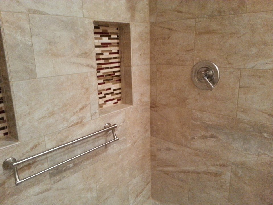 combination grab bar and towel bar in a harrisburg, pa tile shower