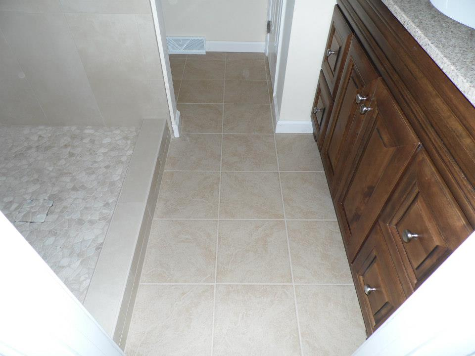 bathroom remodel with tile shower and pebble floor in Mechanicsburg, pa