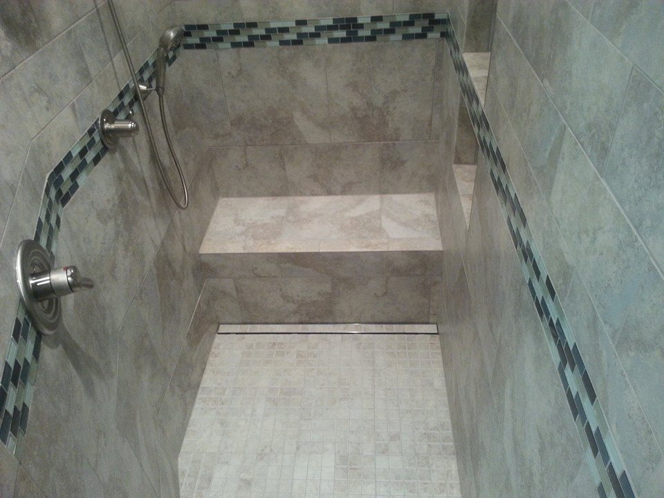 handicap tile shower with tile top linear drain installation