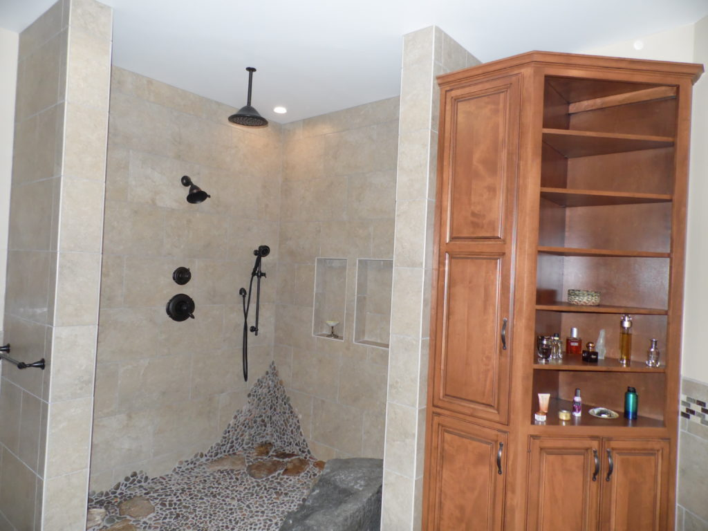 custom made pantry and tiled shower in Harrisburg, Pa